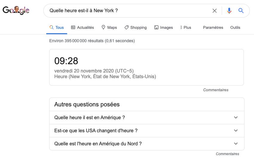Exemple de Featured snippet ou position 0 sur Google